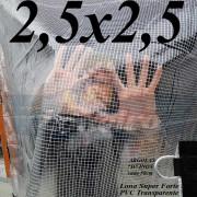 Lona 2,5 x 2,5 m Transparente Crystal Super PVC Vinil 700 Micras com Tela de Poliéster Impermeável + 12 LonaFlex Gancho de 25cm