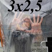 Lona 3,0 x 2,5 m Transparente Crystal Super PVC Vinil 700 Micras com Tela de Poliéster Impermeável