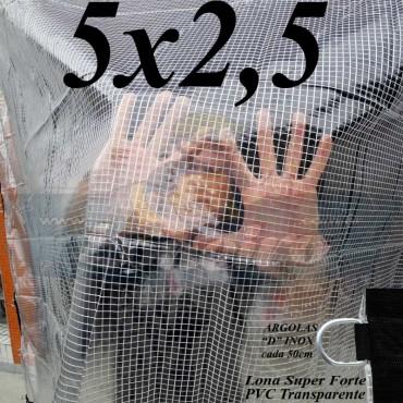 Lona 5,0 x 2,5 m Transparente Crystal Super PVC Vinil 700 Micras com Tela de Poliéster Impermeável + 17 LonaFlex Gancho de 25cm