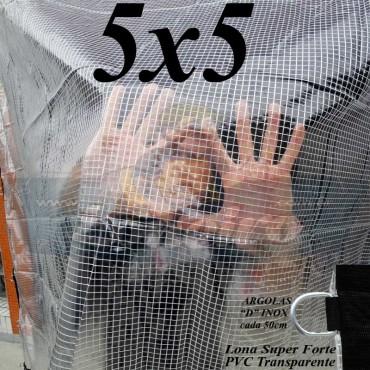 Lona 5,0 x 5,0 m Transparente Crystal Super PVC Vinil 700 Micras com Tela de Poliéster Impermeável + 22 LonaFlex Gancho de 25cm