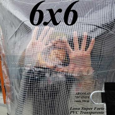 Lona 6,0 x 6,0 m Transparente Crystal Super PVC Vinil 700 Micras com Tela de Poliéster Impermeável + 26 LonaFlex Gancho de 50cm