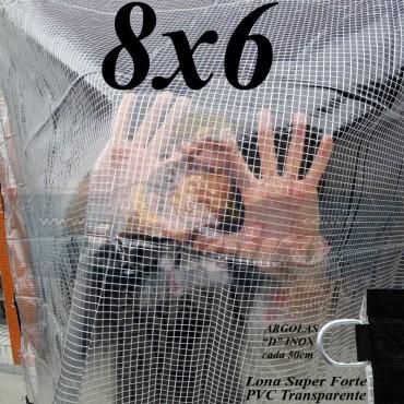 Lona 8,0 x 6,0 m Transparente Crystal Super PVC Vinil 700 Micras com Tela de Poliéster Impermeável + 30 LonaFlex Gancho de 50cm