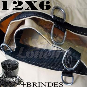 Lona: 12,0 x 6,0m Encerado RipStop Coton Algodão Areia + Corda Preta 70m Poliéster Estática 10mm + 70m Corda 8mm com 1 ROW 0,75m