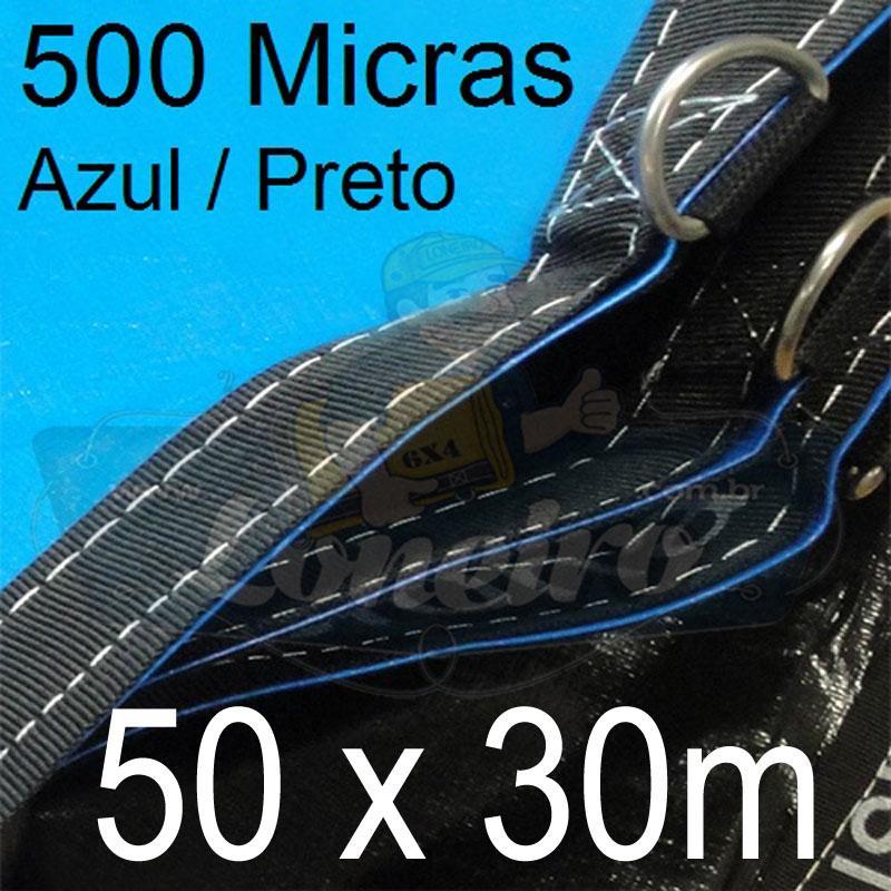 Lona: 50,0 x 30,0m Loneiro 500 Micras PPPE Azul de um lado e Cinza Chumbo do outro com bainha reforçada e Alças de segurança a cada 1 metro!