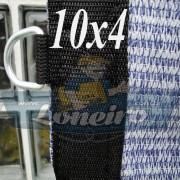 Lona: 10,0 x 4,0 Tela ExtraForte PEAD Premium Caminhão cor Prata/Azul + 40 metros Corda 8mm