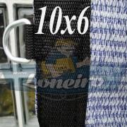 Lona: 10,0 x 6,0 Tela ExtraForte PEAD Premium Caminhão cor Prata/Azul + 50 metros Corda 8mm