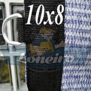 """Lona: 10,0 x 8,0 Tela ExtraForte PEAD Premium Caminhão cor Prata/Azul + com argolas """"D"""" INOX a cada 50cm e cinta de reforço"""