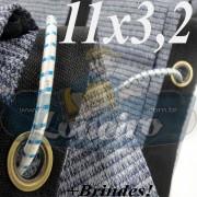 Lona: 11,0 x 3,2 Tela ExtraForte PEAD Premium Caminhão cor Prata/Azul + 40 metros Corda 8mm