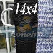 Lona: 14,0 x 4,0 Tela ExtraForte PEAD Premium Caminhão cor Prata/Azul + 50 metros Corda 8mm