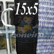 Lona: 15,0 x 5,0 Tela ExtraForte PEAD Premium Caminhão Carreta 3 eixos cor Prata/Azul + 60 metros Corda 8mm
