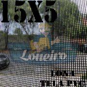 "Lona: 15,0 x 5,0m Tela Premium PVC Preta Vinil Vinílica Sombrite AntiChamas com Argolas ""D"" INOX a cada 50cm"