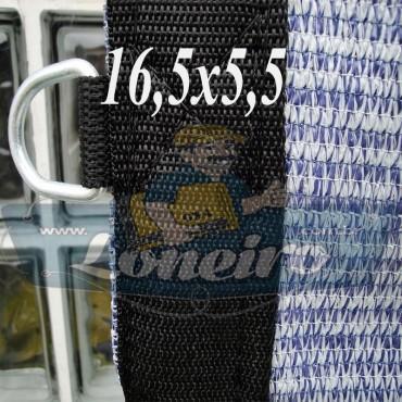 Lona: 16,5 x 5,5 Tela ExtraForte PEAD Premium Caminhão cor Prata/Azul + 60 metros Corda 8mm