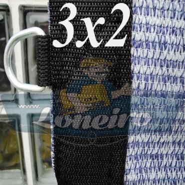 Lona 3,0 x 2,0 Tela ExtraForte PEAD Premium Caminhão cor Prata/Azul + 10 metros de Corda 8mm