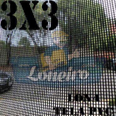 """Lona 3,0 x 3,0m Tela Premium PVC Preta Vinil Vinílica Caçamba Sombrite AntiChamas com Argolas """"D"""" INOX a cada 50cm"""