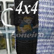 Lona 4,0 x 4,0 Tela ExtraForte PEAD Premium Caminhão cor Prata/Azul + 30 metros Corda 8mm