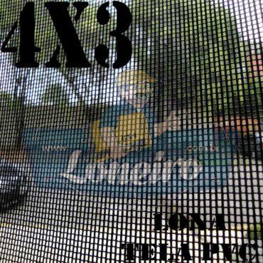 """Lona 4,0 x 3,0m Tela Premium PVC Preta Vinil Vinílica Caçamba Sombrite AntiChamas com Argolas """"D"""" INOX a cada 50cm"""
