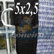 Lona 5,0 x 2,5 Tela ExtraForte PEAD Premium Caminhão cor Prata/Azul + 30 metros Corda 8mm