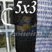 Lona 5,0 x 3,0 Tela ExtraForte PEAD Premium Caminhão cor Prata/Azul + 30 metros Corda 8mm