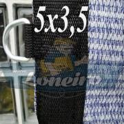 """Lona 5,0 x 3,5 Tela ExtraForte PEAD Premium Caminhão cor Prata/Azul com argolas """"D"""" a cada 50cm e cinta reforçada"""