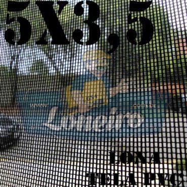 """Lona 5,0 x 3,5m Tela Premium PVC Preta Vinil Vinílica Caçamba Sombrite AntiChamas com Argolas """"D"""" INOX a cada 50cm"""