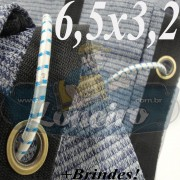 Lona 6,5 x 3,2 Tela ExtraForte PEAD Premium Caminhão cor Prata/Azul + 30 metros Corda 8mm
