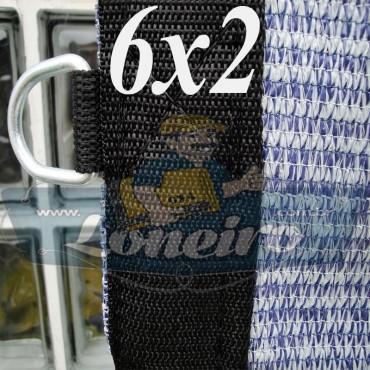 Lona 6,0 x 2,0 Tela ExtraForte PEAD Premium Caminhão cor Prata/Azul + 30 metros Corda 8mm