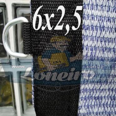 Lona 6,0 x 2,5 Tela ExtraForte PEAD Premium Caminhão cor Prata/Azul + 30 metros Corda 8mm
