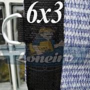 Lona 6,0 x 3,0 Tela ExtraForte PEAD Premium Caminhão cor Prata/Azul + 30 metros Corda 8mm