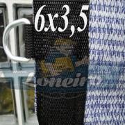 Lona 6,0 x 3,5 Tela ExtraForte PEAD Premium Caminhão cor Prata/Azul + 30 metros Corda 8mm