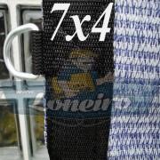 Lona 7,0 x 4,0 Tela ExtraForte PEAD Premium Caminhão cor Prata/Azul + 30 metros Corda 8mm