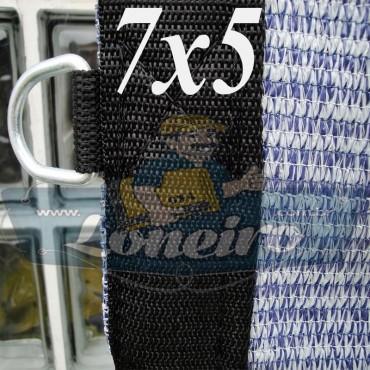 Lona 7,0 x 5,0 Tela ExtraForte PEAD Premium Caminhão cor Prata/Azul + 40 metros Corda 8mm