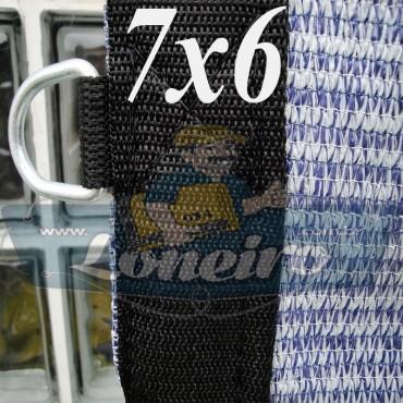 Lona 7,0 x 6,0 Tela ExtraForte PEAD Premium Caminhão cor Prata/Azul + 40 metros Corda 8mm
