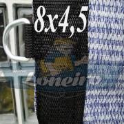 Lona 8,0 x 4,5 Tela ExtraForte PEAD Premium Caminhão cor Prata/Azul + 40 metros Corda 8mm