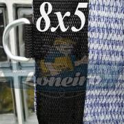 Lona 8,0 x 5,0 Tela ExtraForte PEAD Premium Caminhão cor Prata/Azul + 40 metros Corda 8mm