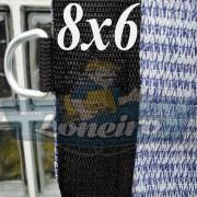 Lona 8,0 x 6,0 Tela ExtraForte PEAD Premium Caminhão cor Prata/Azul + 40 metros Corda 8mm