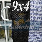 """Lona 9,0 x 4,0 Tela ExtraForte PEAD Premium Caminhão Truck cor Prata/Azul com argolas """"D"""" INOX a cada 50cm e cinta de reforço"""