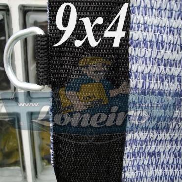Lona 9,0 x 4,0 Tela ExtraForte PEAD Premium Caminhão Truck cor Prata/Azul + 40 metros Corda 8mm