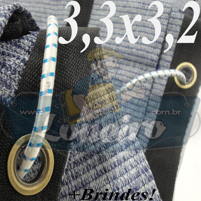 Lona 3,3 x 3,2 Tela ExtraForte PEAD Premium Caminhão cor Prata/Azul + 11 Corda Elástica 8mm x 1m
