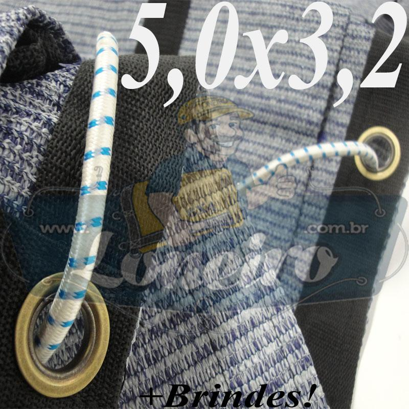 Lona 5,0 x 3,2 Tela ExtraForte PEAD Premium Caminhão cor Prata/Azul + 20 metros Corda 8mm