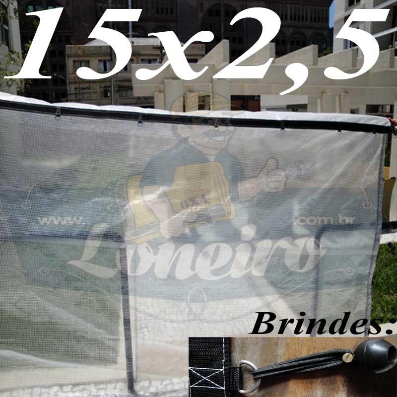 Lona: 15,0 x 2,5m Transparente 400 Micras Plástica Crystal Argolas com 34 elásticos lonaflex 30cm + 30m Corda 4mm!