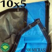 Lona: 10,0 x 5,0m Loneiro 500 Micras PPPE Azul e Cinza com argolas