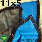 Lona: 11,0 x 5,0m Loneiro 500 Micras PPPE Azul e Cinza com argolas