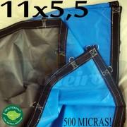Lona: 11,0 x 5,5m Loneiro 500 Micras PPPE Impermeável Azul e Cinza com argolas