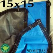 Lona: 15,0 x 15,0m Loneiro 500 Micras PPPE Azul e Cinza 140