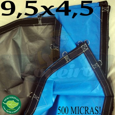 Lona 9,5 x 4,5m Loneiro 500 Micras PPPE Azul e Cinza com argolas