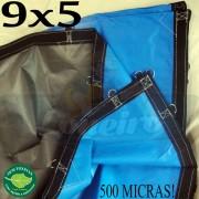 Lona 9,0 x 5,0m Loneiro 500 Micras PPPE Impermeável Azul e Cinza com argolas