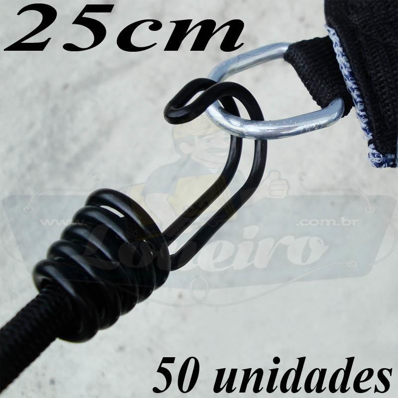 Elástico de Borracha Latex LonaFlex Super Gancho Duplo 25cm x 8mm com 50 pcs cor preto