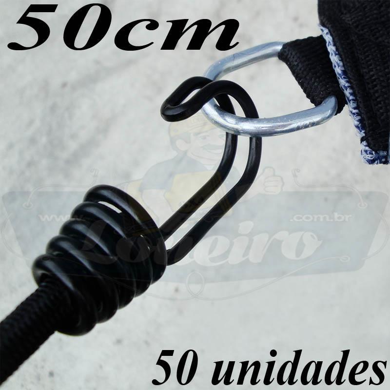 Elástico de Borracha Latex LonaFlex Super Gancho Duplo 50cm x 8mm com 50 pcs cor preto