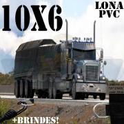 Lona: 10,0 x 6,0m PVC Premium Caminhão Vinil Preto Fosco AntiChamas com 22 LonaFlex Gancho 25cm e 22 LonaFlex Gancho 50cm