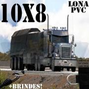 Lona: 10,0 x 8,0m PVC Premium Caminhão Vinil Preto Fosco AntiChamas com 25 LonaFlex Gancho 25cm e 25 LonaFlex Gancho 50cm
